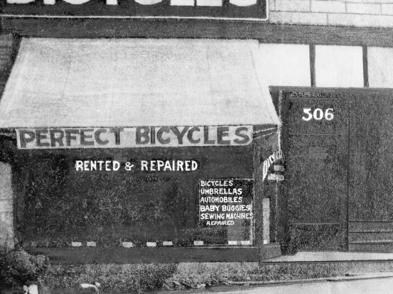 Exterior of Scovill's Perfect Bicycles shop - 506 Richards Street, Vancouver 1904
